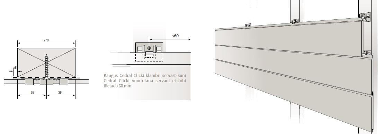 Cedral Click järjestikune paigaldamine - kinnitusklambrid